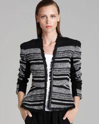 Rebecca Taylor Black Jacket Stripe Tweed Peplum with Leather