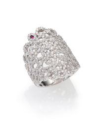 Roberto Coin | Metallic Diamond 18k White Gold Mauresque Wide Ring | Lyst