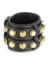 Saint Laurent | Metallic Studded Leather Double Cuff | Lyst