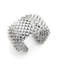 Stephen Webster - Metallic Sterling Silver Studded Wide Cuff Bracelet - Lyst