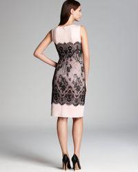 Tadashi Shoji Black Laceprint Neoprene Sheath Dress Sleeveless