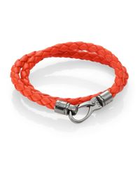 Tod's | Orange Leather Double Wrap Bracelet | Lyst