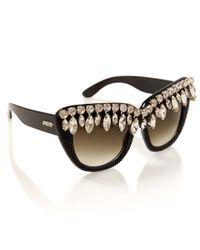 A-morir Black Nico Crystal Sunglasses
