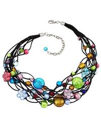 Antica Murrina Blue Cancun Murano Glass Beads Flowers Multistrand Necklace
