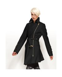 Bebe | Black Coat Asymmetrical Belted Trench Coat | Lyst