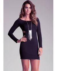 Bebe Black Cutout Strap Bodycon Dress