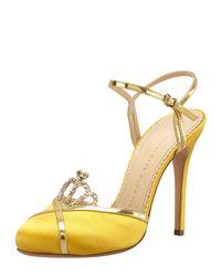 Charlotte Olympia - Metallic Tiara Satin Crystal Ankle Strap Sandal - Lyst