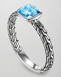 John Hardy - Batu Chain Blue Topaz Ring - Lyst