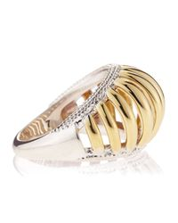Lagos - Metallic Wide Two-tone Textured Ring - Lyst