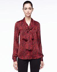 982b83d5103a MICHAEL Michael Kors. Women's Leopardprint Bow Blouse