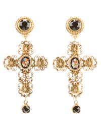 Dolce & Gabbana | Metallic Cross Earrings | Lyst