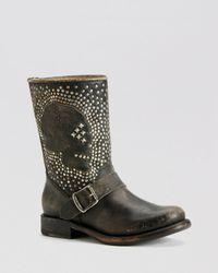 Frye Black Boots - Jenna Skull Stud