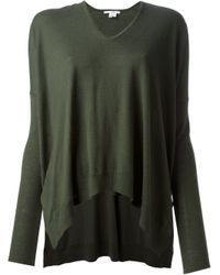 Helmut Lang | Green Oversize V-neck Sweater | Lyst