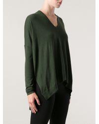 Helmut Lang - Green Oversize V-neck Sweater - Lyst