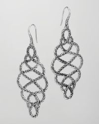 John Hardy | Metallic Chain Silver Braided Drop Earrings | Lyst