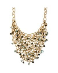 Kenneth Cole | Metallic Gold Tone Faceted Bead Mesh Frontal Necklace | Lyst