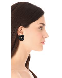 Kenneth Jay Lane | Black Crystal Flower Earrings | Lyst