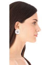 Kenneth Jay Lane | White Crystal Flower Earrings | Lyst