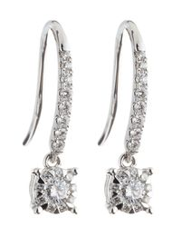 Memoire - White-Gold Pave-Bale Diamond Earrings, 0.25 - Lyst
