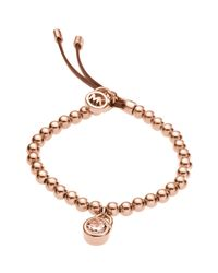 Michael Kors - Pink Bead Stretch Bracelet Rose Golden - Lyst