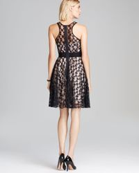 MILLY Black Dress Cheetah Lurex Lace Sweetheart