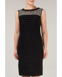 Precis Petite Black Pleated Embellished Dress