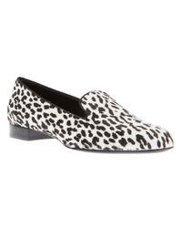 Saint Laurent White Leopard Print Loafer