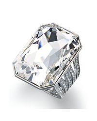 Swarovski - Metallic Silver Tone Crystal Cocktail Ring - Lyst