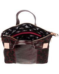 Ted Baker Red Seriah Exotic Metal Square Tote Bag