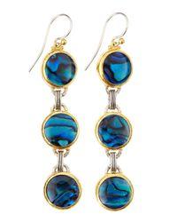 Gurhan Metallic Three Tier Paua Shell Earrings