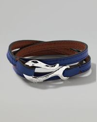 Ippolita | Mens Pelle Sterlinghook Leather 3wrap Bracelet in Blue for Men | Lyst