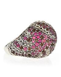 John Hardy - Purple Palu Macan Striped Light Rhodolite and Smoky Quartz Dome Ring  - Lyst