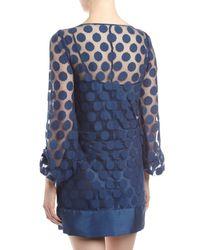 Laundry by Shelli Segal Blue Polkadot Lace Shift Dress Night Sky 12