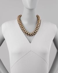 Lee Angel Metallic Metal Cabochon Chain Necklace