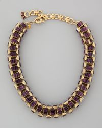 Lee Angel Black Yellow Goldplated Purple Crystal Baguette Necklace