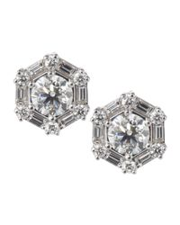 Roberto Coin | Metallic Diamond Hexagonal Stud Earrings | Lyst