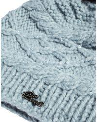 ASOS Blue Barts Claire Faux Fur Bobble Beanie