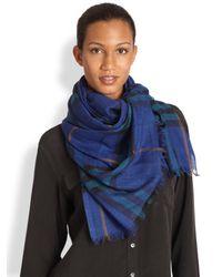 Burberry - Blue Check Wool Silk Scarf - Lyst