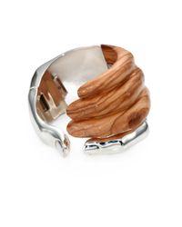 Delfina Delettrez | Brown Stone Hand Olive Wood Sterling Silver Cuff Bracelet | Lyst