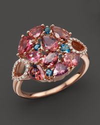 Roberto Coin | 18k Rose Gold Fantasia London Blue Topaz And Pink Tourmaline Ring | Lyst