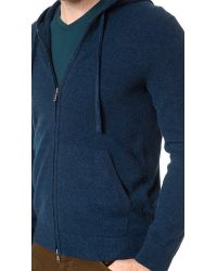 Vince Blue Cashmere Zip Up Hoodie for men