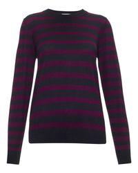 Whistles Purple Silk Stripe Sweater
