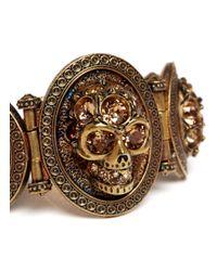 Alexander McQueen - Metallic Stone Skull Bracelet - Lyst