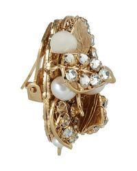 Bijoux Heart - Metallic Goldplated Swarovski Crystal and Pearl Clip Earrings - Lyst