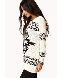 Forever 21 - Natural South-western Boyfriend Sweater - Lyst