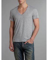 G-Star RAW Gray Classic Vneck Tshirt for men