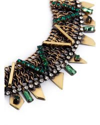 Iosselliani - Brown Crystal Chainmail Necklace - Lyst