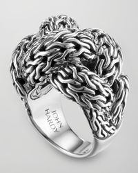 John Hardy Metallic Classic Chain Silver Braided Ring for men