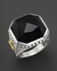 Lagos | Metallic Sterling Silver Color Rocks And Black Onyx Ring | Lyst