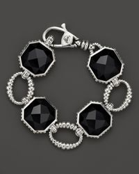 Lagos | Metallic Sterling Silver Large Color Rocks Black Onyx Link Bracelet | Lyst